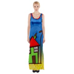 Colorful Illustration Of A Doodle House Maxi Thigh Split Dress