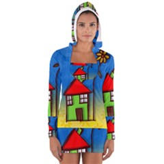 Colorful Illustration Of A Doodle House Women s Long Sleeve Hooded T Shirt