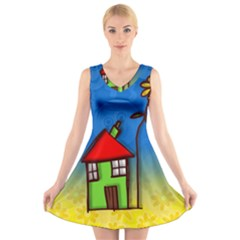 Colorful Illustration Of A Doodle House V Neck Sleeveless Skater Dress
