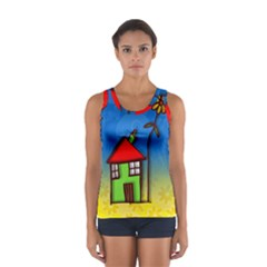 Colorful Illustration Of A Doodle House Women s Sport Tank Top