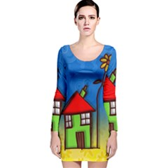 Colorful Illustration Of A Doodle House Long Sleeve Velvet Bodycon Dress