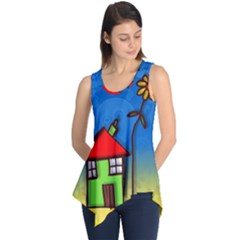 Colorful Illustration Of A Doodle House Sleeveless Tunic