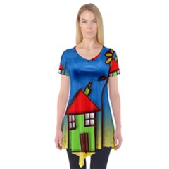 Colorful Illustration Of A Doodle House Short Sleeve Tunic