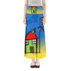 Colorful Illustration Of A Doodle House Maxi Skirts