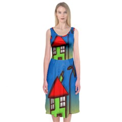 Colorful Illustration Of A Doodle House Midi Sleeveless Dress