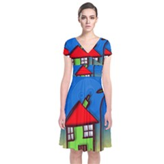 Colorful Illustration Of A Doodle House Short Sleeve Front Wrap Dress