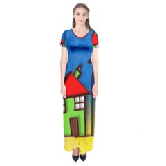 Colorful Illustration Of A Doodle House Short Sleeve Maxi Dress