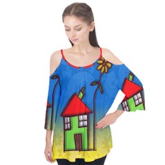 Colorful Illustration Of A Doodle House Flutter Tees