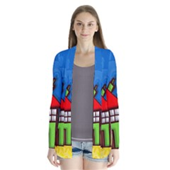Colorful Illustration Of A Doodle House Cardigans
