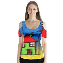 Colorful Illustration Of A Doodle House Butterfly Sleeve Cutout Tee