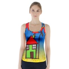 Colorful Illustration Of A Doodle House Racer Back Sports Top