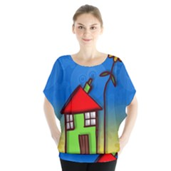 Colorful Illustration Of A Doodle House Blouse
