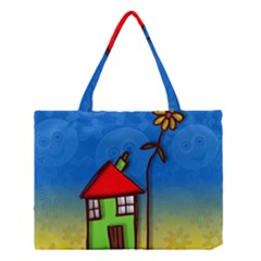 Colorful Illustration Of A Doodle House Medium Tote Bag