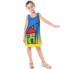 Colorful Illustration Of A Doodle House Kids  Sleeveless Dress