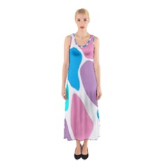 Baby Pink Girl Party Pattern Colorful Background Art Digital Sleeveless Maxi Dress