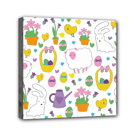 Cute Easter pattern Mini Canvas 6  x 6