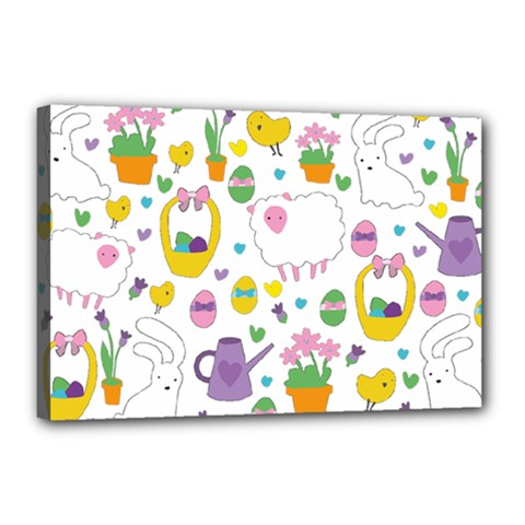 Cute Easter pattern Canvas 18  x 12