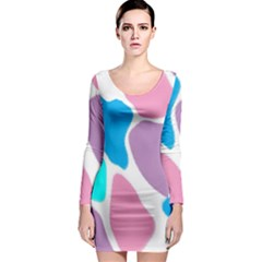 Baby Pink Girl Party Pattern Colorful Background Art Digital Long Sleeve Bodycon Dress
