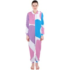 Baby Pink Girl Party Pattern Colorful Background Art Digital Hooded Jumpsuit (ladies)