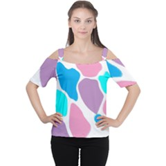 Baby Pink Girl Party Pattern Colorful Background Art Digital Women s Cutout Shoulder Tee