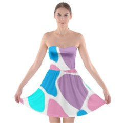 Baby Pink Girl Party Pattern Colorful Background Art Digital Strapless Bra Top Dress