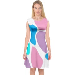 Baby Pink Girl Party Pattern Colorful Background Art Digital Capsleeve Midi Dress