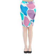 Baby Pink Girl Party Pattern Colorful Background Art Digital Midi Wrap Pencil Skirt