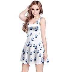 Water Drops On White Background Reversible Sleeveless Dress