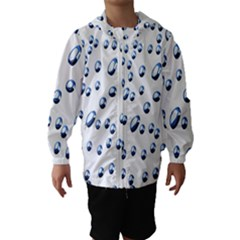 Water Drops On White Background Hooded Wind Breaker (Kids)