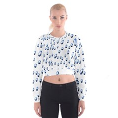Water Drops On White Background Cropped Sweatshirt