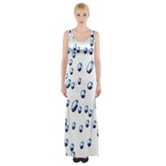 Water Drops On White Background Maxi Thigh Split Dress