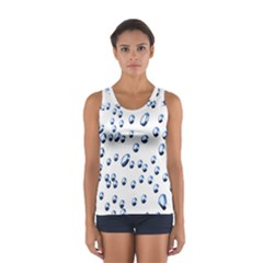 Water Drops On White Background Women s Sport Tank Top