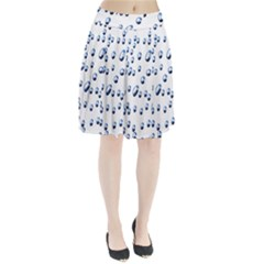 Water Drops On White Background Pleated Skirt