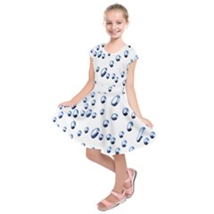 Water Drops On White Background Kids  Short Sleeve Dress