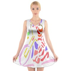 Motorcycle Racing The Slip Motorcycle V Neck Sleeveless Skater Dress