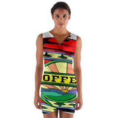 Coffee Tin A Classic Illustration Wrap Front Bodycon Dress