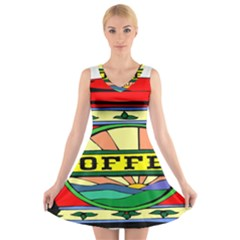 Coffee Tin A Classic Illustration V Neck Sleeveless Skater Dress