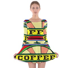 Coffee Tin A Classic Illustration Long Sleeve Velvet Skater Dress