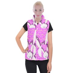 Easter Bunny  Women s Button Up Puffer Vest