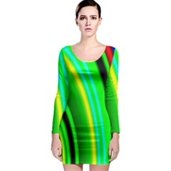 Multi Colorful Radiant Background Long Sleeve Bodycon Dress