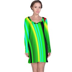 Multi Colorful Radiant Background Long Sleeve Nightdress