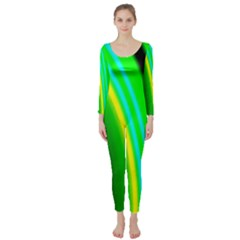 Multi Colorful Radiant Background Long Sleeve Catsuit