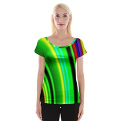 Multi Colorful Radiant Background Women s Cap Sleeve Top