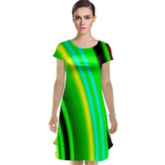 Multi Colorful Radiant Background Cap Sleeve Nightdress