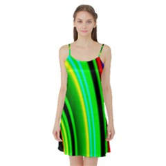Multi Colorful Radiant Background Satin Night Slip