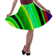Multi Colorful Radiant Background A Line Skater Skirt