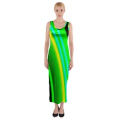 Multi Colorful Radiant Background Fitted Maxi Dress