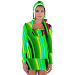 Multi Colorful Radiant Background Women s Long Sleeve Hooded T-shirt