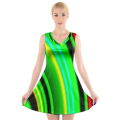 Multi Colorful Radiant Background V Neck Sleeveless Skater Dress