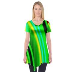 Multi Colorful Radiant Background Short Sleeve Tunic